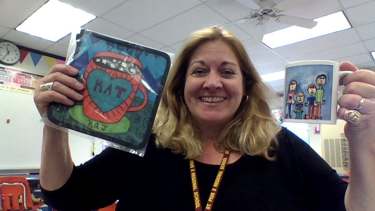 Mrs. Baden is excited for our Square 1 Art Fundraiser!