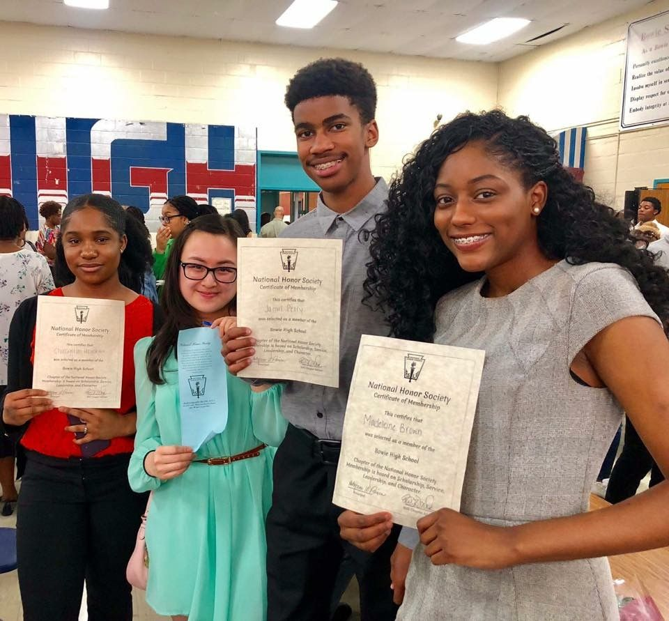 Celebrating four of our SPX Young Alumni (Class of 2016) who were inducted in the NHS at Bowie High School. (CHina Uzoukwu, Kelly Chan, Jamil Perry and Madeleine Brown) Congrats!